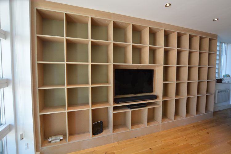 Fitted TV | Bookcase shelves - Bepoke Bookcase And Media Cabinets Bristol Hand Built Living